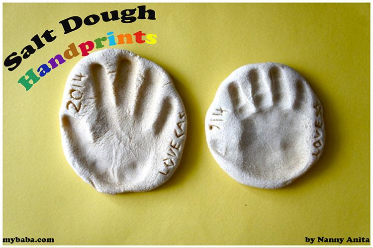Make a hand or food print keep sake using salt dough.