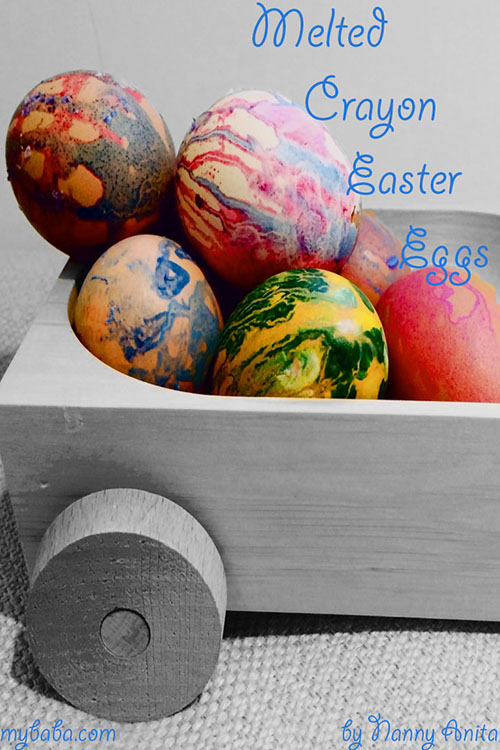 Decorate your eggs using a melted crayon.