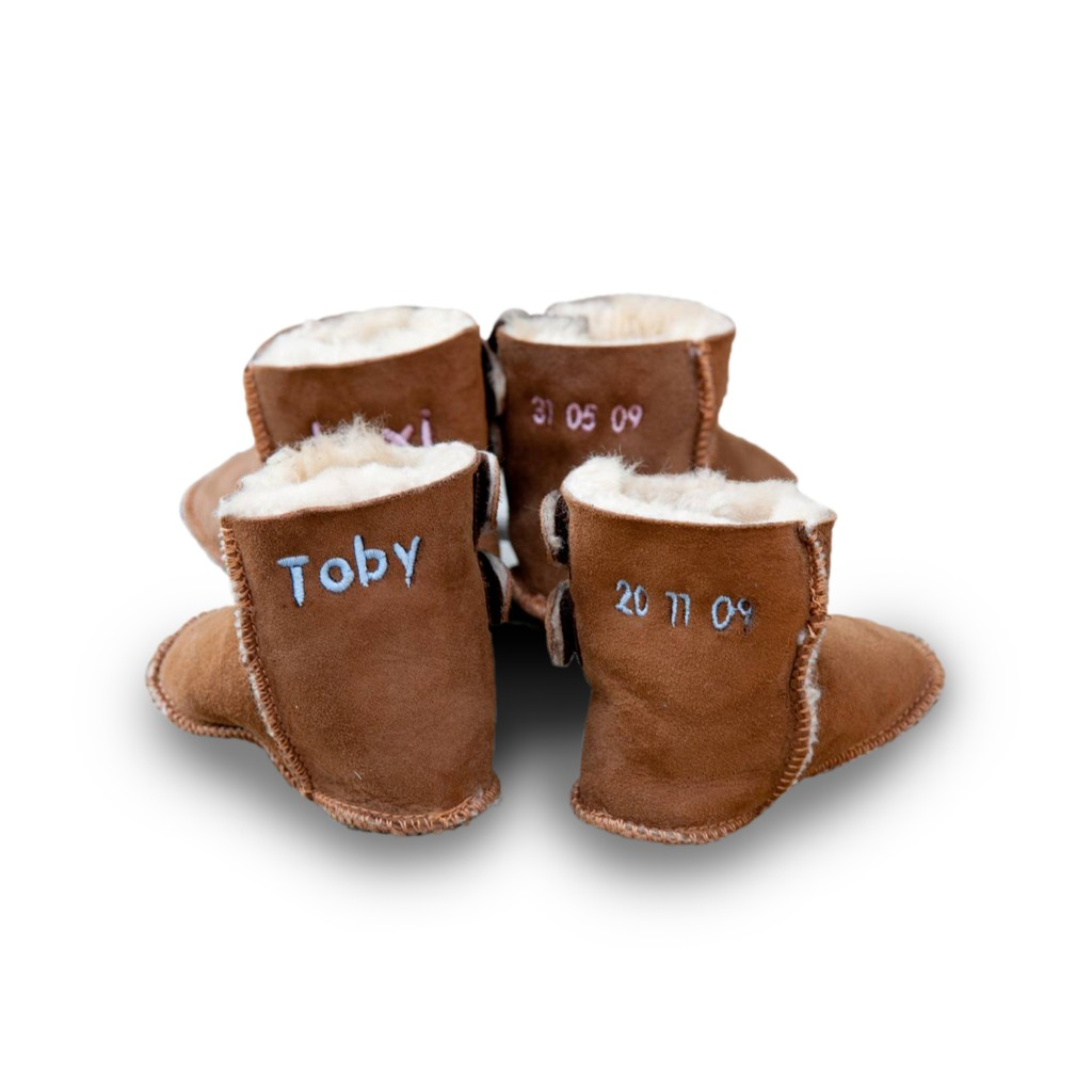 My 1st Years Sheepskin Booties in Tan