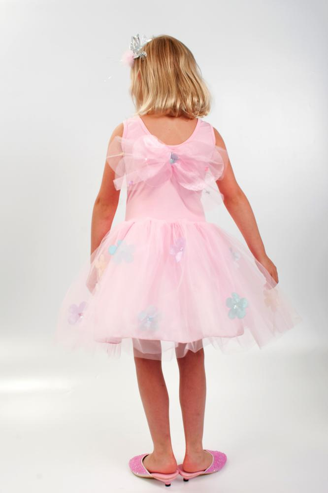 DR2285 Sequin Flower Dress Pink - Back - Large