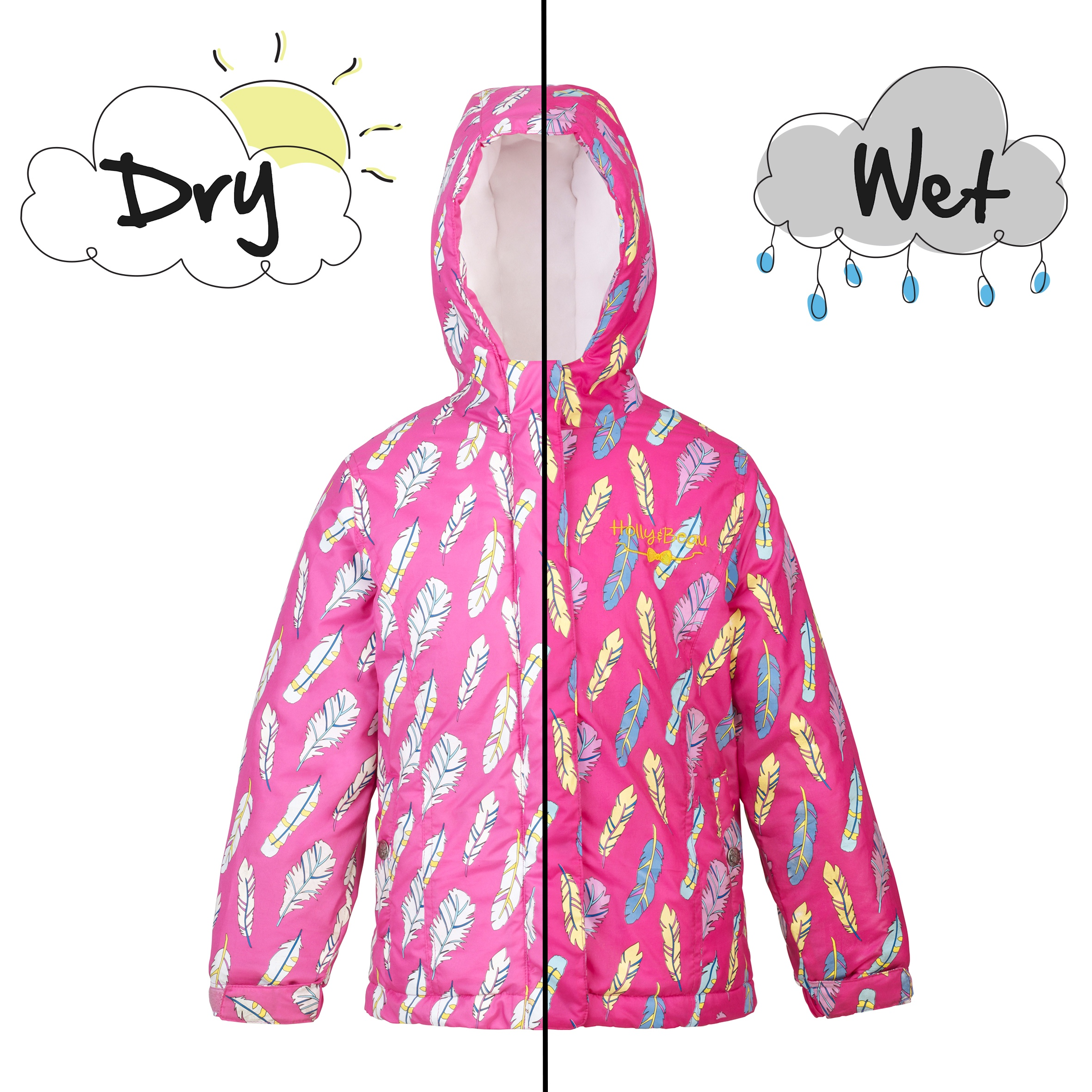 Girls feather coat wet and dry