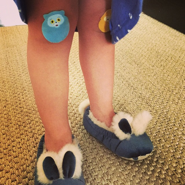 Double #ouchie made better with #trostisar #plasters @colette and @boden_clothing #bunnyslippers @libertylndngirl