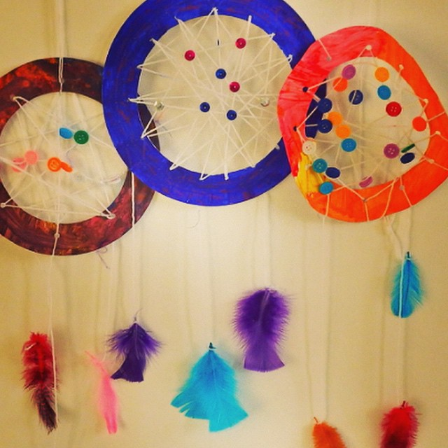 #nannyanita showed us how to make these brilliant #dreamcatchers last week and they've been a huge hit. #artsandcrafts #kidscrafts #nannyanita #keepthisemonstersatbay