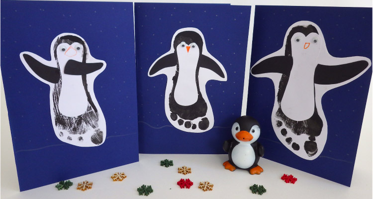 Make your own footprint penguin christmas cards my baba for Penguin christmas cards homemade