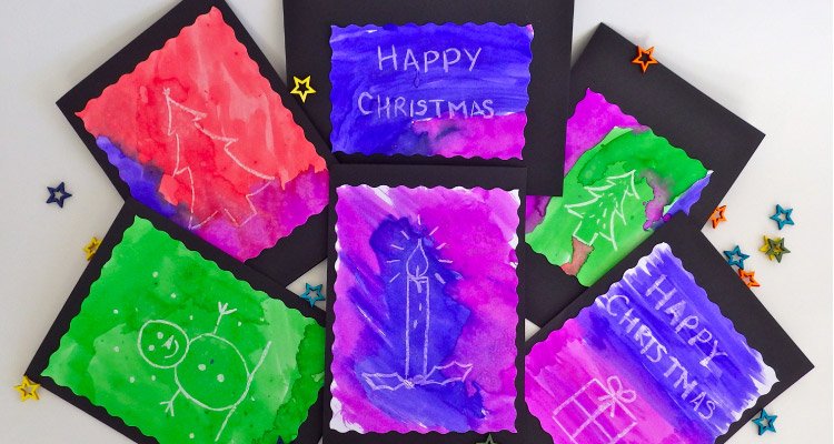 Wax Resistant Christmas Cards
