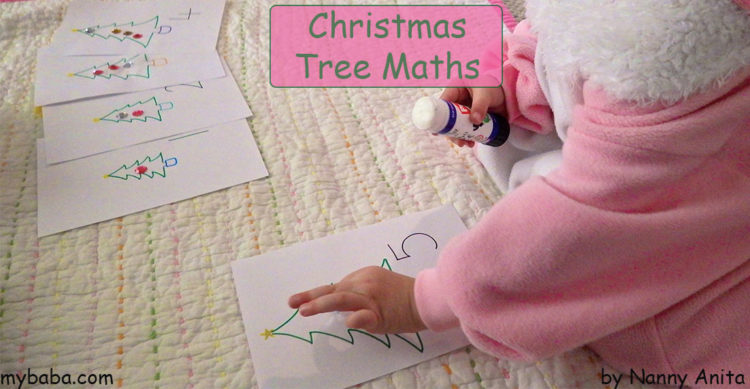 Christmas tree maths activity for preschoolers.