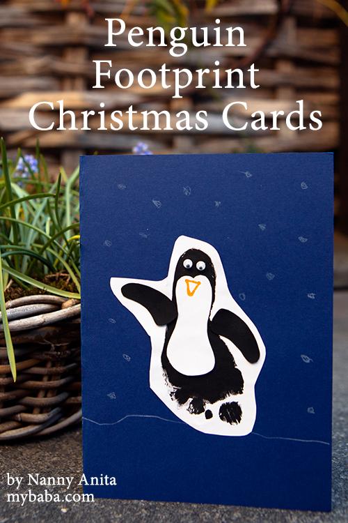 Penguin Christmas Cards Homemade.Make Footprint Penguin Christmas Cards Arts Crafts