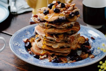 Banana, Blueberry and Pecan Pancakes