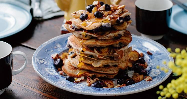 Banana, Blueberry and Pecan Pancakes