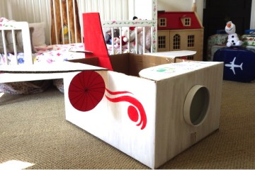 cardboard box plane for imaginative play