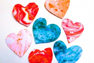 Valentine's Day Marbled Hearts