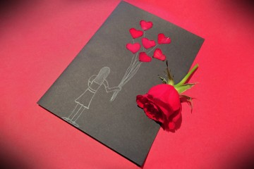 Valentine's Day Cards with Rose Petals
