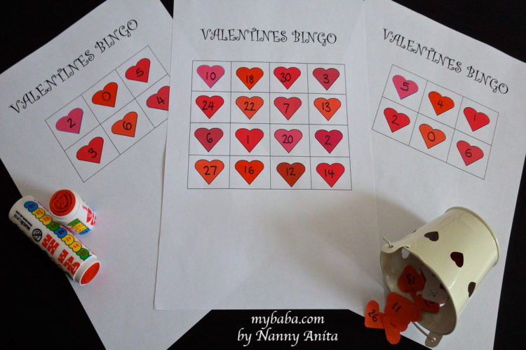 Valentine's Bingo Game for preschoolers to help with number recognition.