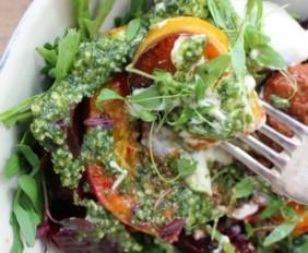 Joanna Preston's Roasted Butternut, Beetroot, Rocket and Tahini Yogurt Salad with Muhamra and Pesto