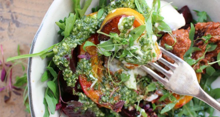 Joanna Preston's Roasted Butternut, Beetroot, Rocket and Tahini Yogurt Salad with Muhamra and Pesto