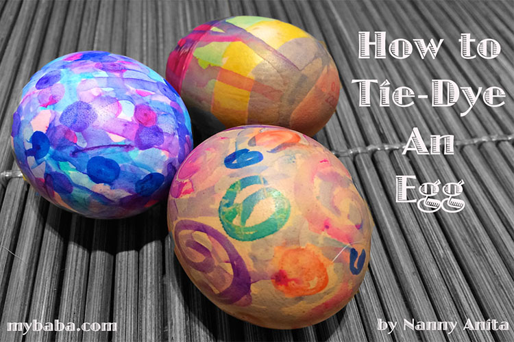 How to tie-dye an egg using sharpies and rubbing alcohol.