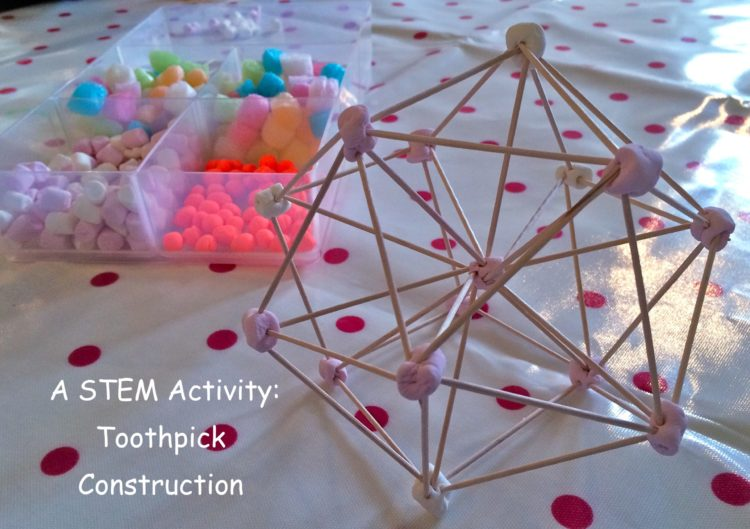 Expore geometeric shapes with this toothpick construction stem activity for kids