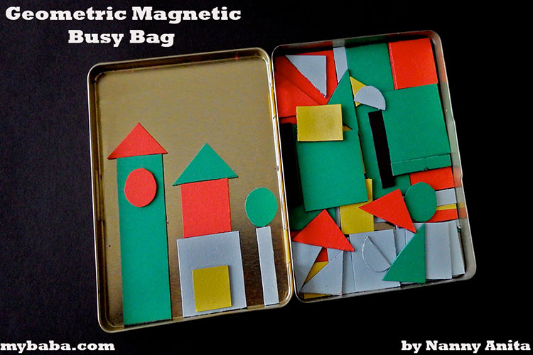 Magnetic geometric busy bag for kids.