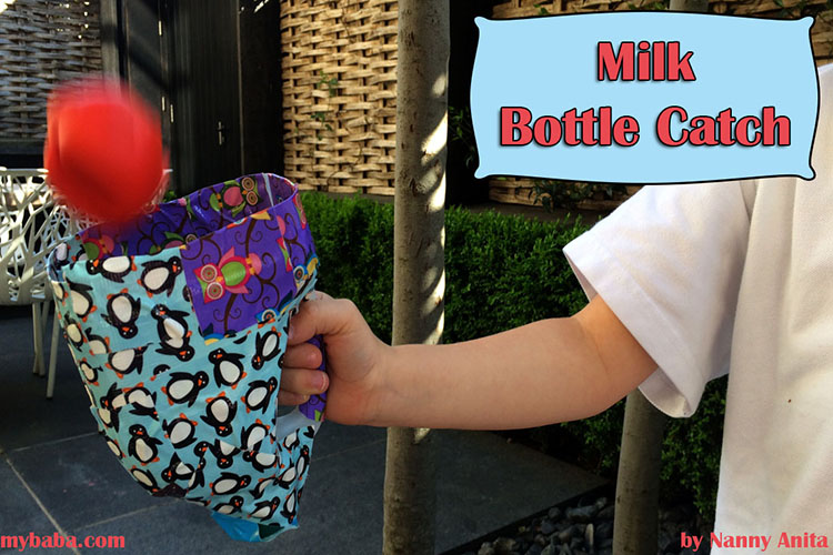 Use an old bilk bottle to create a catching mit.