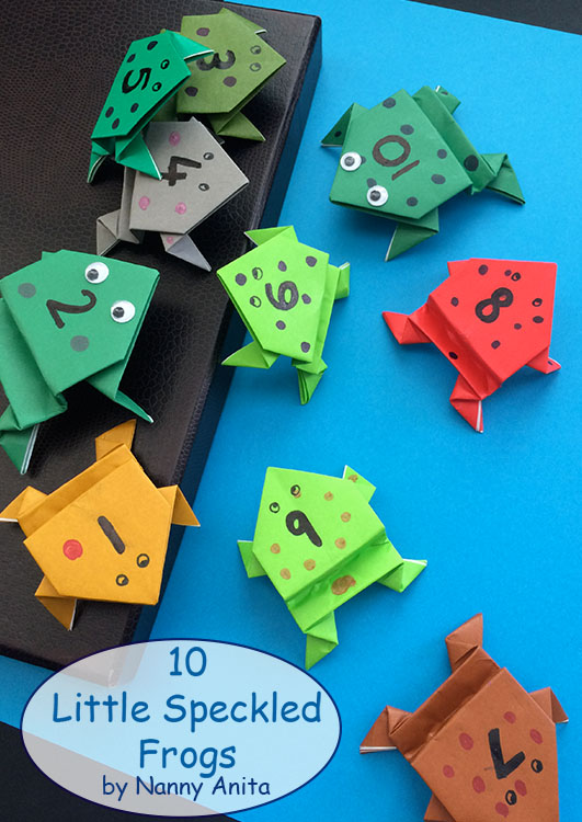 Origami frogs for use in a maths activity inspired by the song 5 little speckled frogs.