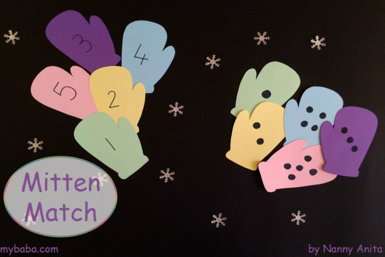 Mitten match maths activity for preschoolers.