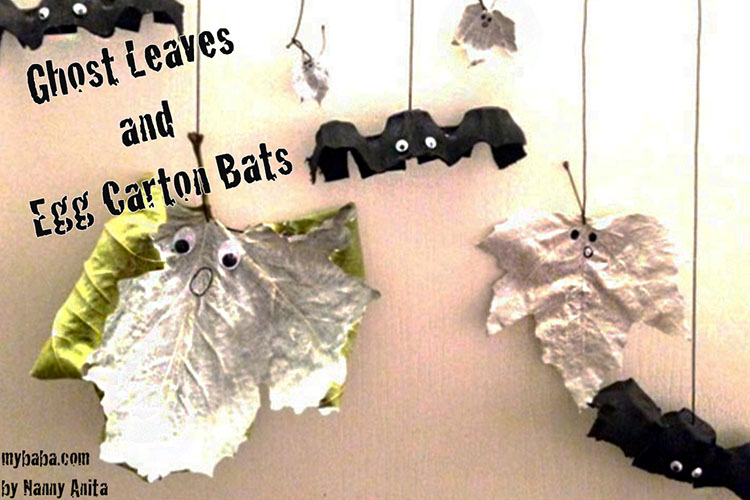 Simple and easy Halloween crafts for toddlers and preschoolers in these ghost leaves and hanging bat crafts