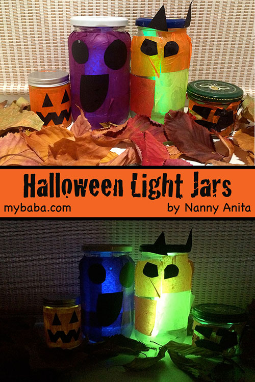 Halloween Light Jars - use old mason jars to create these enchanting lights. We used them with glow sticks.