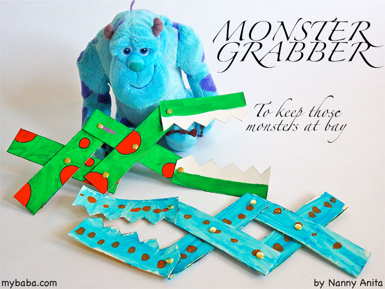 Keep monsters at bay with this Halloween craft and build your own monster grabber. A fun craft for children.