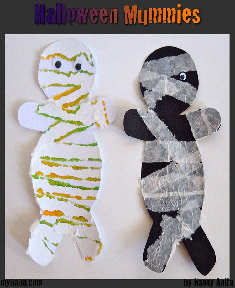 A Halloween mummy craft for children that can help develop fine motor skills.
