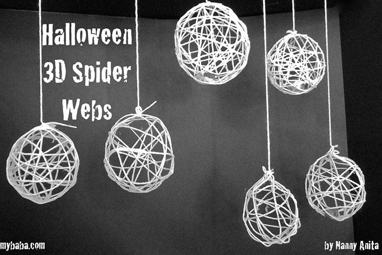3D spider webs: Halloween craft