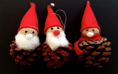 Father Christmas Pine Cone Decorations