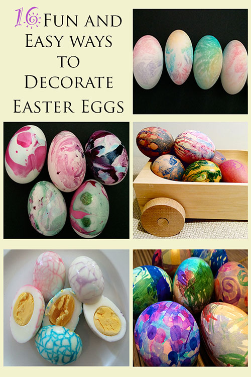16 fun and easy ways to decorate easter eggs for children.