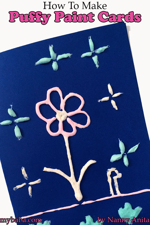 How to make puffy paint cards without using a microwave to puff it up.