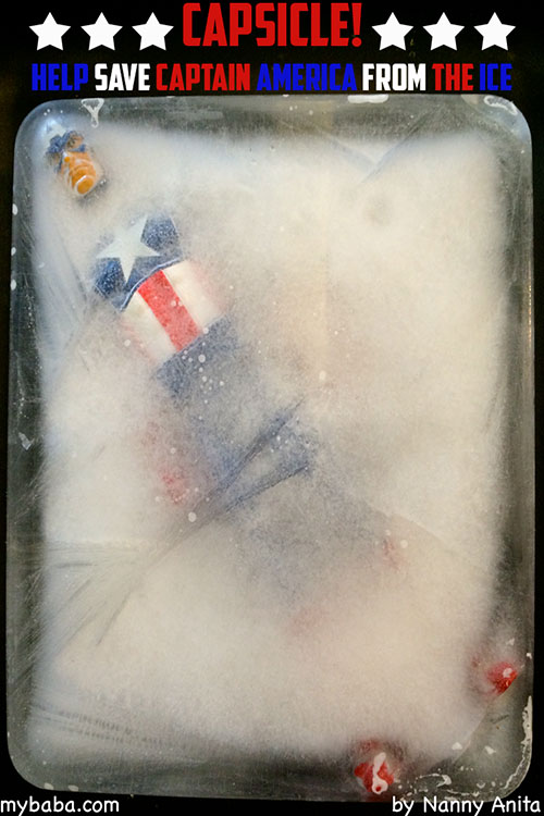 Such a fun activity to do that appeals to children and any marvel fans! Use warm water and salt to free Captain America from his Capsicle state.
