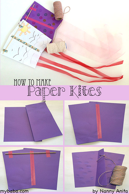 How to make simple paper kites with paper and string.