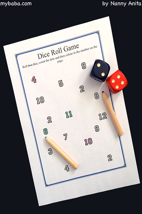 Maths Game. Roll the dice, count the dots and colour in the number. Free downloadable worksheets