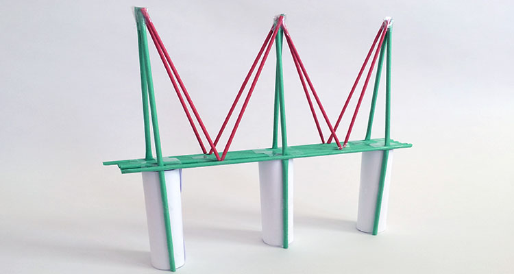 how to build a truss bridge out of straws