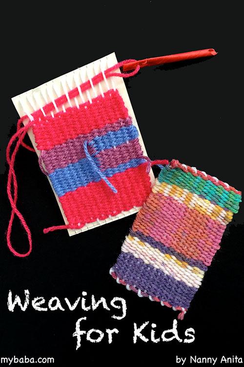 Weaving for kids on a cardboard loom.