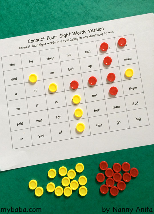 Connect 4: Sight Word Edition ||My Baba Parenting Blog