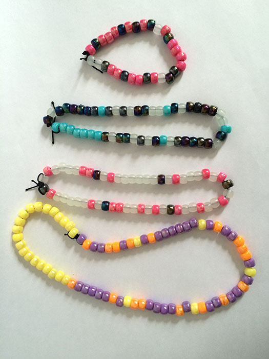 All the finished bracelets and necklaces.