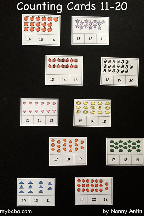 Counting Cards Activity and Free Print Outs for numbers 11-20