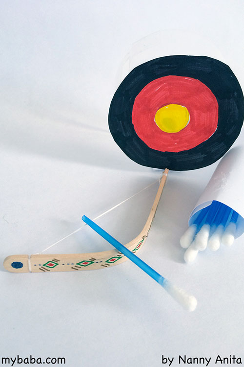 Make a mini bow and arrow set using popsicle/craftsticks and q-tips. They are fun for all ages.