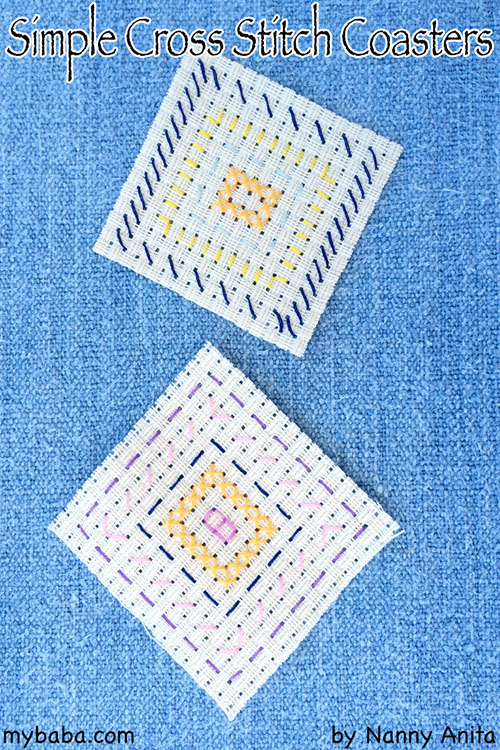 easy cross stitched coaster; perfect for children who are learning to do simple cross stitch patterns.