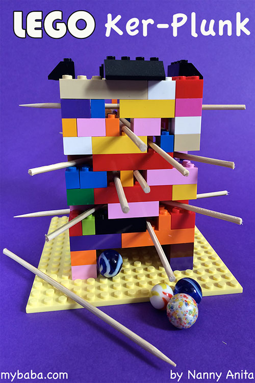 Homemade classic Ker-plunk game made out of lego. #childrensactivity