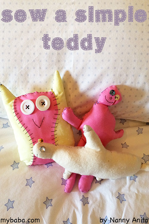 sewing a simple teddy with children. Simple sewing project for children.