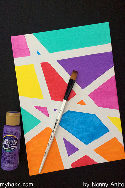 Use tape on canvas to create beautiful works of art. Easy to do with children of all ages.