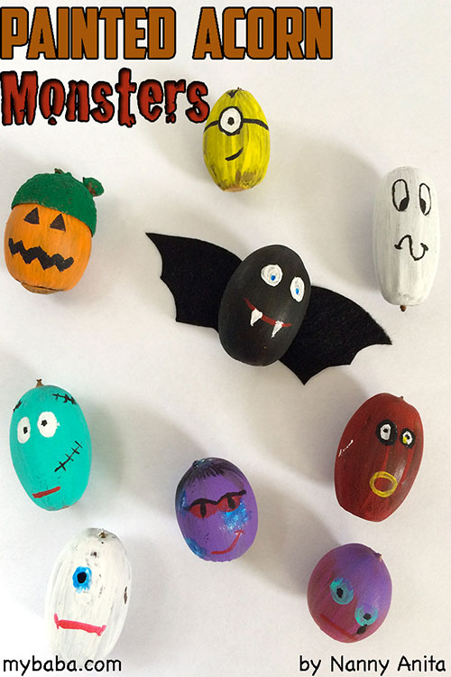 Acorn Monsters! A sweet halloween craft for kids.