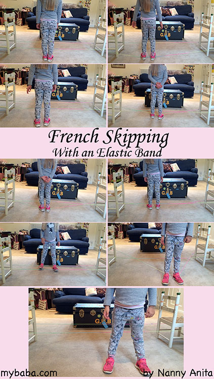 Learn how to do french skipping with an elastic. Also known as chinese skipping and yorkshire skipping. Have a go. It is possibly the best school yard games.