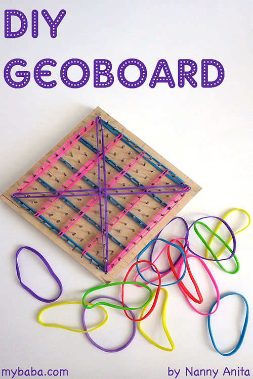 Simple DIY geo board for fine motor skills and maths fun.