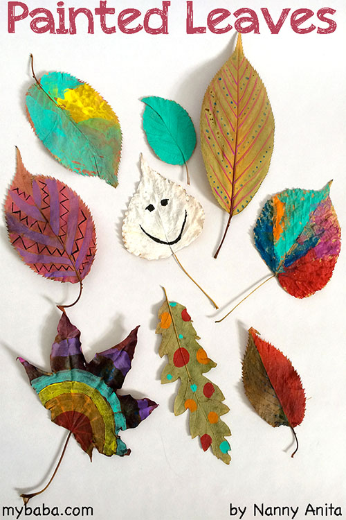 Autumn art project for kids - painting leaves